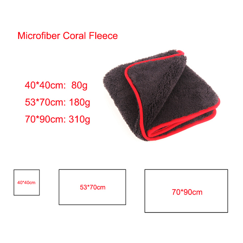 2020 New Thick Coral Fleece Car Washing Towel 500GSM 40*40CM Soft Microfiber Cloth Car Cleaning Towel 70*90CM Super Absorbent