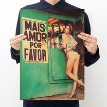 Room decoration sexy girl poster retro kraft paper bar cafe decoration painting art wall sticker