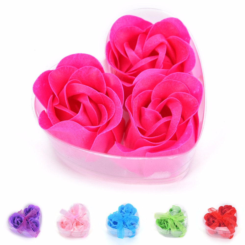 3Pcs Scented Rose Flower Petal Bath Body Soap Wedding Party Gift For Your Good Friend Muti-color The Efficacy Of Skin Care