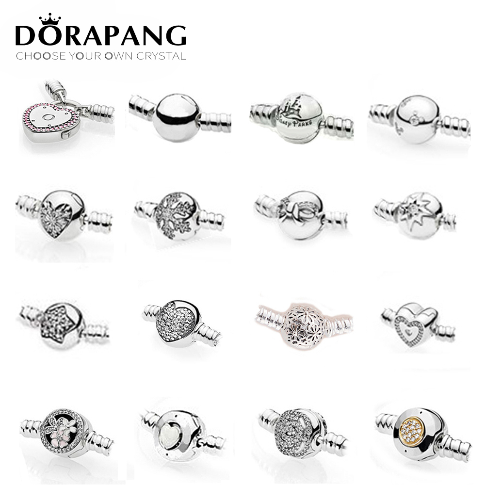 NEW 2018 100% 925 Sterling Silver Classic Basic DIY Bracelet Clip Buttun Chain Head Round Heart Shape Multiple Style Selection