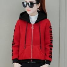 Autumn Spring Women Korean Red Long Sleeve Hooded  Jacket and Coat Elegant 2019 Fashion Harujuku Clothing