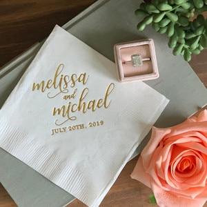 100 sztuk/partia złota drukowane serwetki na napoje ślubne niestandardowe serwetki Baby Shower Bridal Shower spersonalizowane serwetki na napoje