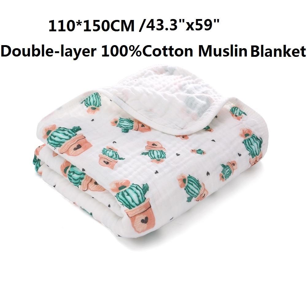 Livraison directe Miracle bébé deux couches 100% coton mousseline couverture 110*150cm nouveau-né bébé lange d'emmaillotage tenir enfants serviette de bain