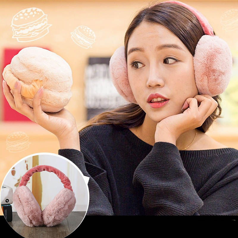 Earmuff Plush Warm Foldable Solid Color Gift For Winter Women Lady Sport Outdoor FEA889