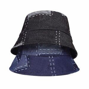 Summer washed denim sun hat women fashion soft top hat women wide-brimmed beach bucket hat female cotton collapsible panama hats(China)