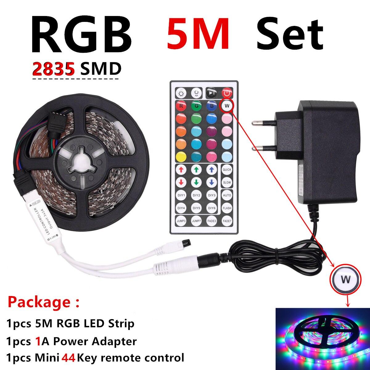 H0b386a0473a943f786c735d49ed9b889c RGB LED Strip Light RGB 5050 SMD 2835 Flexible Ribbon fita led light strip RGB 5M 10M Tape Diode DC 12V Remote Control Adapter
