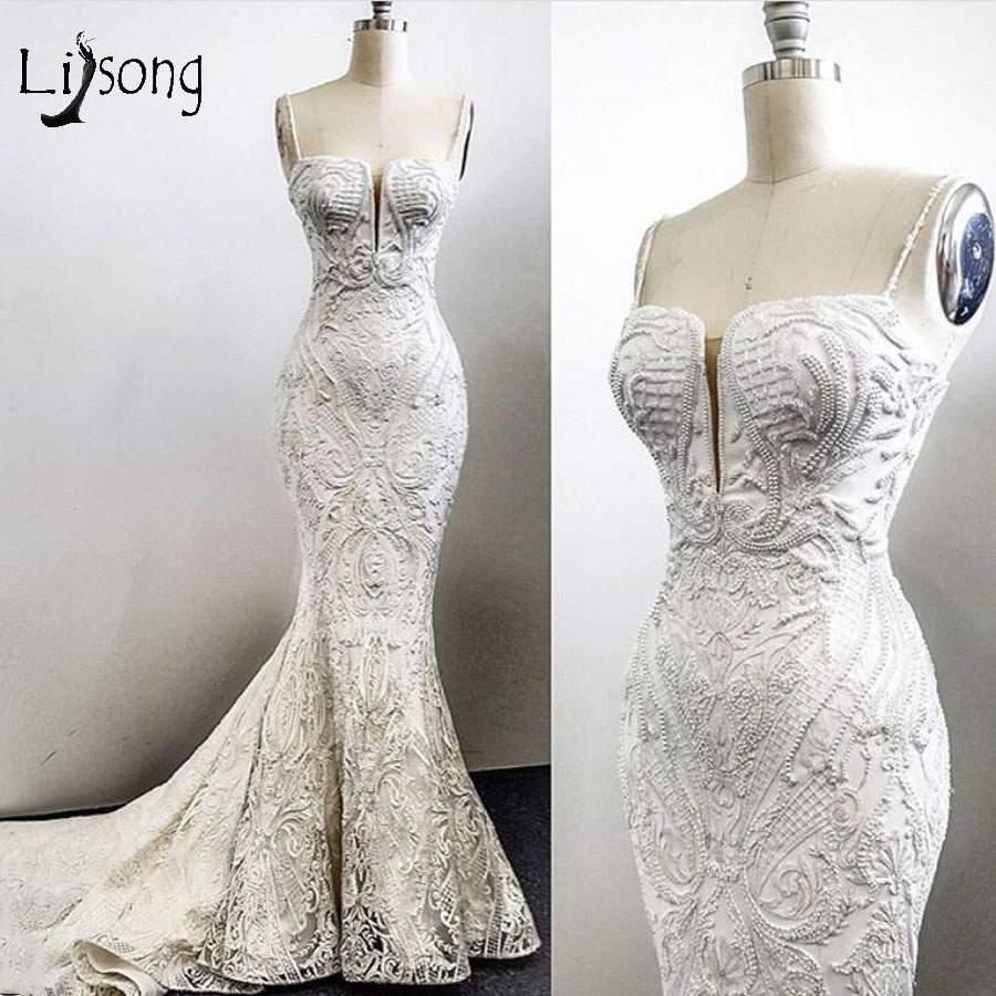 Real Image Lace Mermaid Wedding  Dresses Elegant Pearls Bridal Gowns Sexy Wedding Gowns Vestidos De Novia
