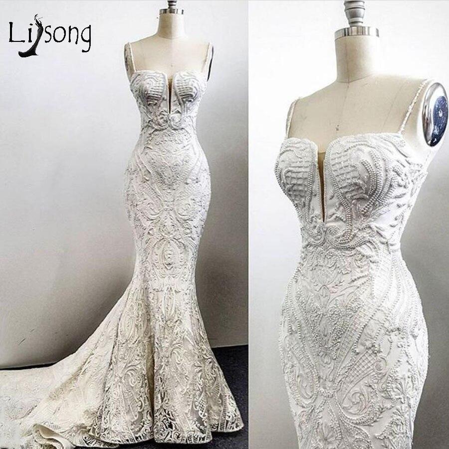 Real Image Lace Mermaid Wedding  Dresses Elegant Pearls Bridal Gowns Sexy Wedding Gowns Vestidos De Novia