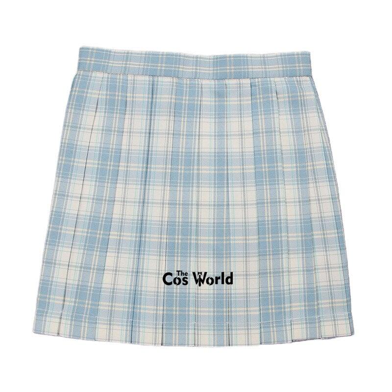 [White Sea] Girl's Summer High Waist Pleated Skirts Plaid Skirts Women Dress For JK School Uniform Students Cloths