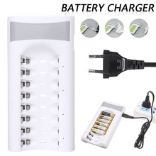 8 Slots USB Charger Dock Smart Fast Charging Charger For Ni-MH Ni-Cd AA AAA Rechargeable Battery USB Plug Quick Charger in stock eu plug charger for aa aaa 9v ni mh ni cd rechargeable battery batteries