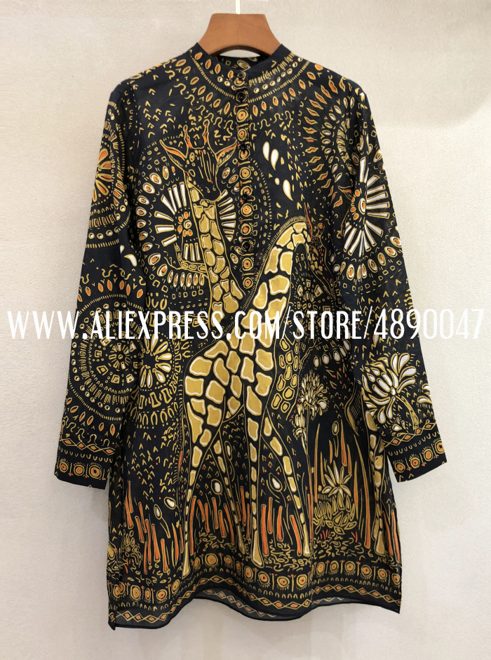 Весенне-летнее платье с длинным рукавом, женское модное платье-рубашка с принтом жирафа, высококачественное повседневное Хлопковое платье мини-платье - Цвет: Многоцветный