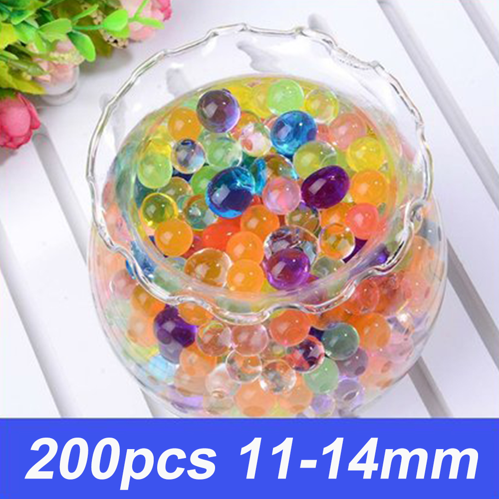200pcs Colorful Pearl Gel Ball Polymer Hydrogel Crystal Mud Soil Water Beads Grow Magic Jelly Wedding Home Party Plant Potted