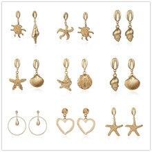 Hot Sale Cowrie Starfish Shell Earrings Unique Design Big Geometric Drop Earring For Women Summer Ocean Beach Jewelry Boho Style