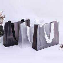 Pvc shopper bolsa transparente fosco plástico roupas reutilizáveis loja saco de presente de compras armazenamento de cosméticos