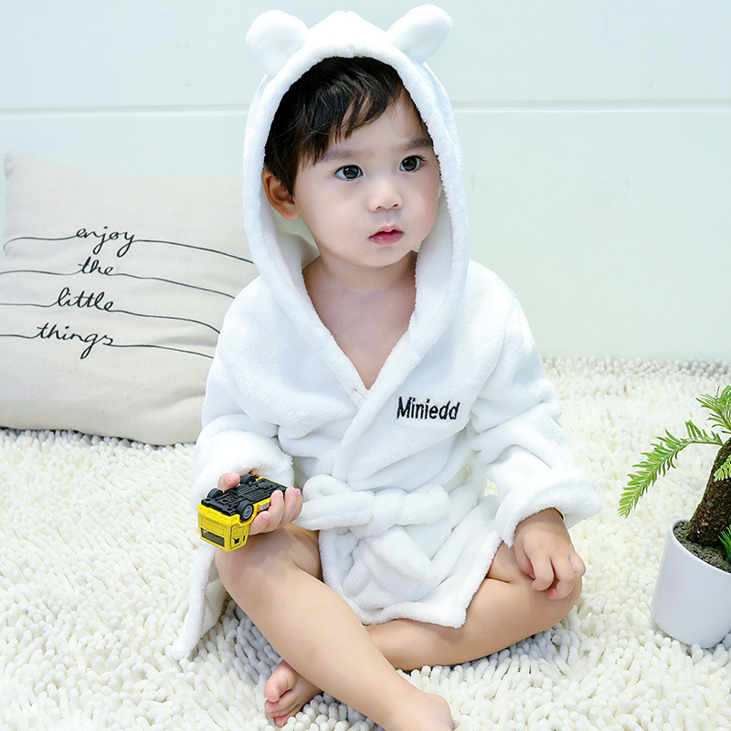 CHILDREN'S Pajamas Baby Bathrobe 2019 Autumn Flannel Korean-style Men And Women Children Coral Velvet Tracksuit