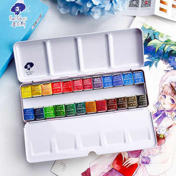 Paul Rubens Fine Solid Watercolor Paint Set 12/24/48 Color Fresh Style Metal Box Bright Water Color Painting Pigment - DISCOUNT ITEM  44 OFF Education & Office Supplies