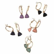 Модные женские сережки золотистого цвета с покрытием мятный камень фиолетовый персик черный темно-синий серьги в форме треугольника серьги