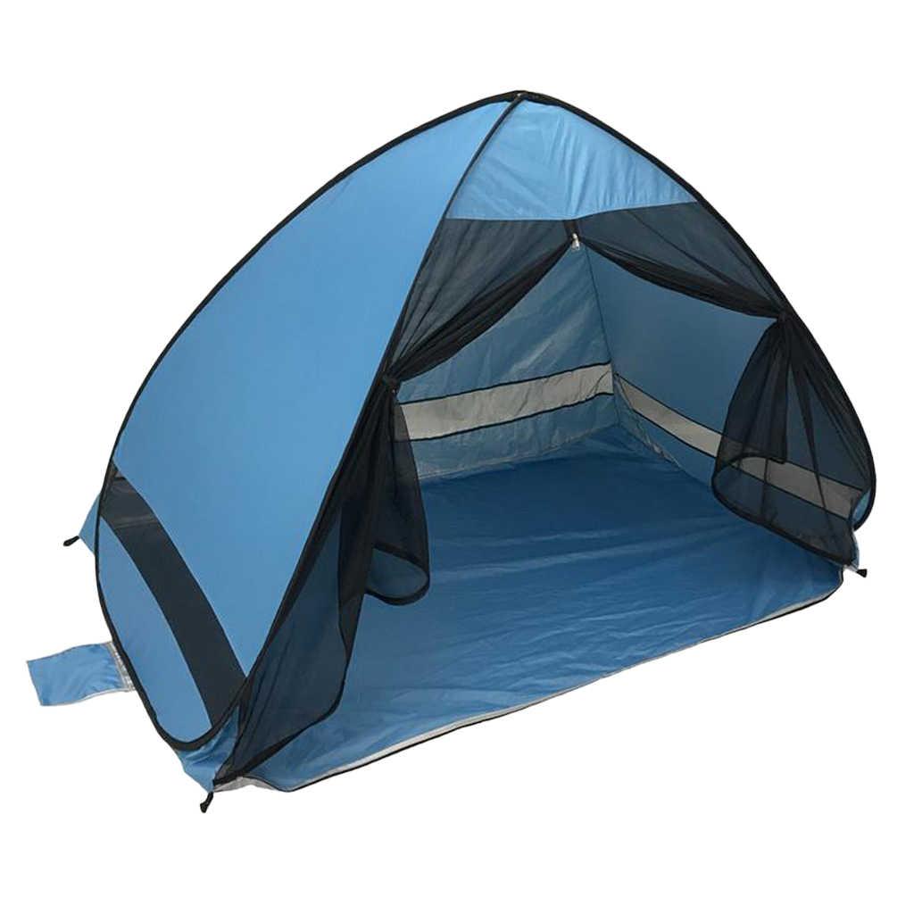 Portable Beach Tent Blue Anti-UV Automatic Pop Up Sun Protection
