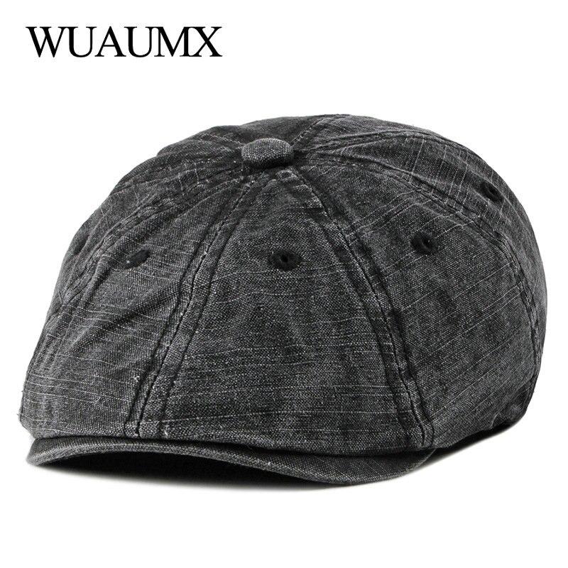 Wuaumx Retro Summer Berets Hat Men Eight-blade Newsboy Cap Women Painter Visors Herringbone Cap Washed Cotton Duckbill Flat Caps