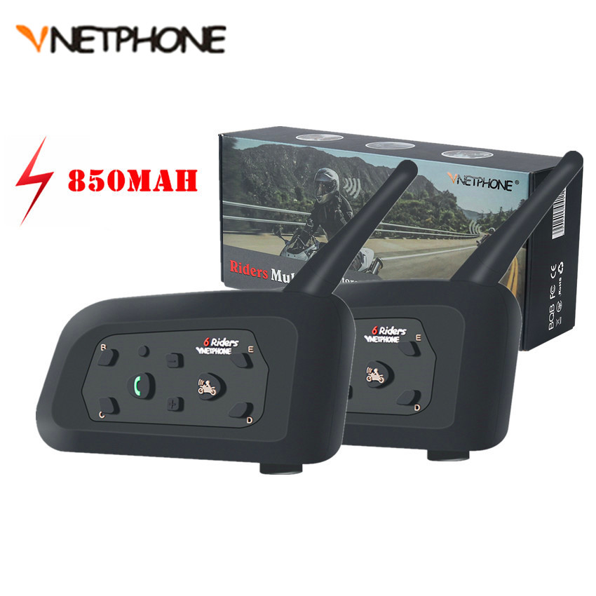 2 stücke Vnetphone V6 Multi BT Sprech 1200M Motorrad Bluetooth Helm Intercom Intercomunicador interfones Headset für Moto