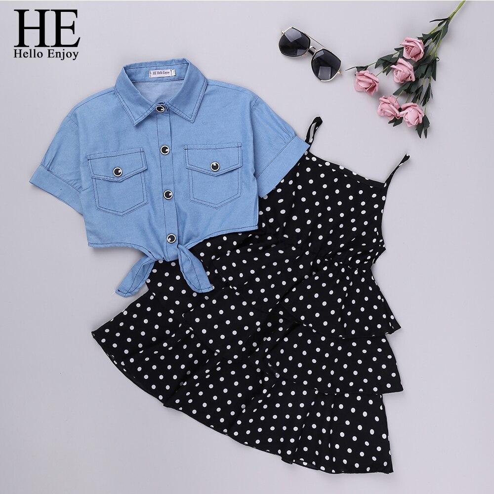 HE Hello Enjoy Girls Clothes Sets 2020 Summer Teenagers Dot Sling Princess Dress +Denim Blouse 2pc Kids Big Girl Dresses 4 10 12