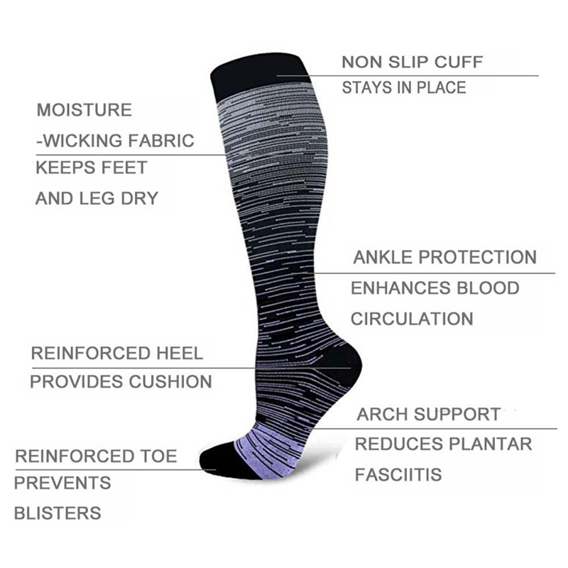 H0b391da4cfc349229b56dc16d3ca1c07W - Socks Sport For Men Women Compression Gradient Color Mixing Socks Knee High/Long Nylon Hosiery Footwear Accessories S-XL Blue