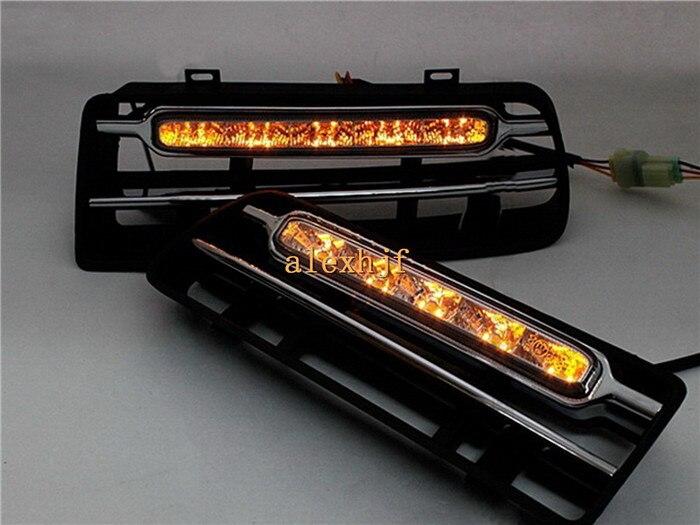 July King LED дневные ходовые огни чехол для Volkswagen Golf 4th 1997 2004, LED передний бампер DRL с желтыми поворотниками