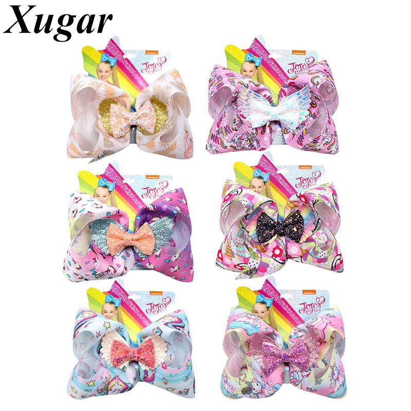7 JoJo Siwa Hair Clip for Girls Uniorn Print Ribbon Glitter Bows Wings JOJO BOWS Hairgrips Kids Fashion Accessories