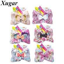 7 JoJo Siwa Hair Clip for Girls Uniorn Print Ribbon Glitter Bows Wings JOJO BOWS Hairgrips Kids Fashion Accessories