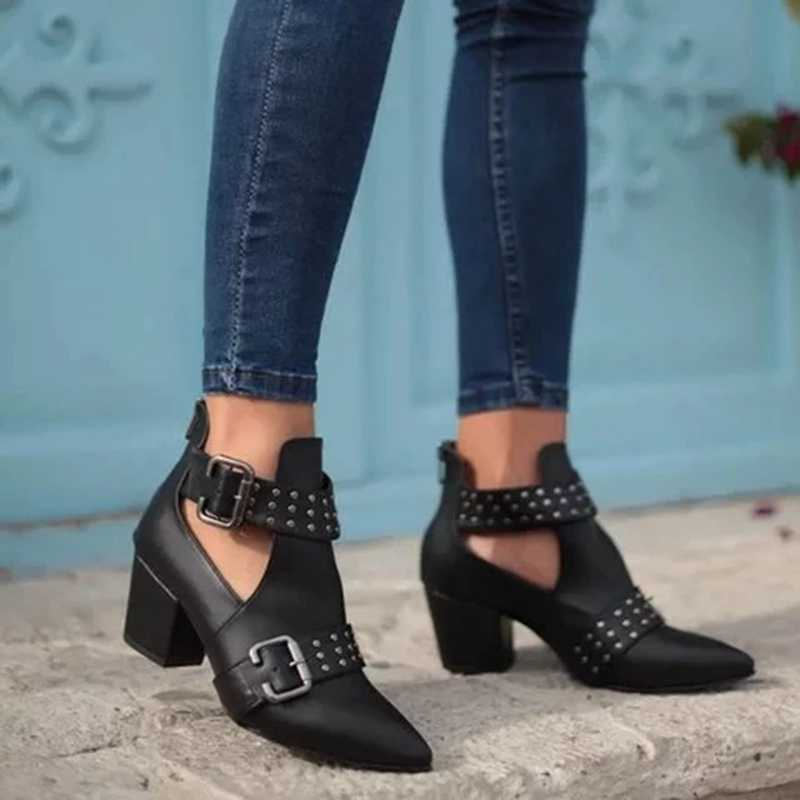 Litthing Automne Hiver Bottes Femmes Mode Cheville Bottes Pour Les Femmes Talon Carré sans lacet Dames Chaussures Bottes Bota Feminina 2019