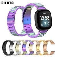 FIFATA-Correa de muñeca de repuesto para Fitbit Versa 3, correa de reloj de acero inoxidable, bandas de Metal para Fitbit Sense, accesorios