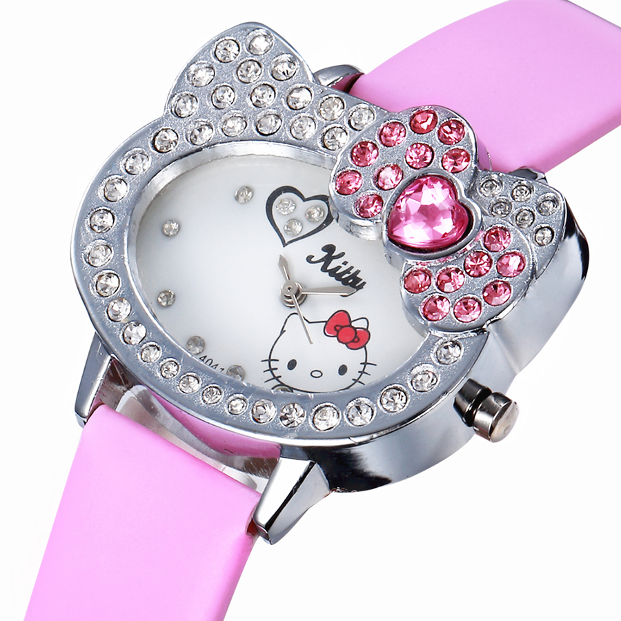 Hello Kitty Women Leather Watch For Girls Kids Student Infantil Leather Band Clock Relogio Cartoon Watch Hodinky Ceasuri Enfant