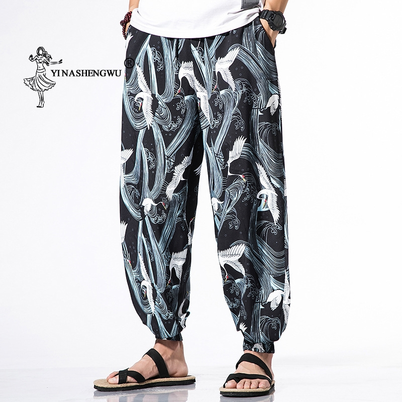 Japanese Kimono Traditional Print Pants Haori Pants Asian Costume Beach Casual Loose Long Pants Japan Style Kimono Yukata Men