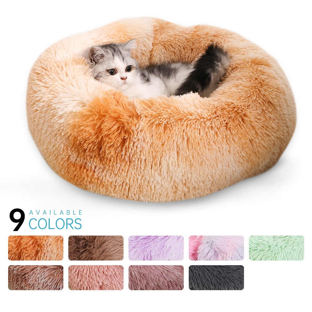 Donut Macaron Cat Bed Faux Plush Dog Pet Beds Soft Dog Bed Plush Cat Mat Dog Beds For Large Dogs Bed Labradors House