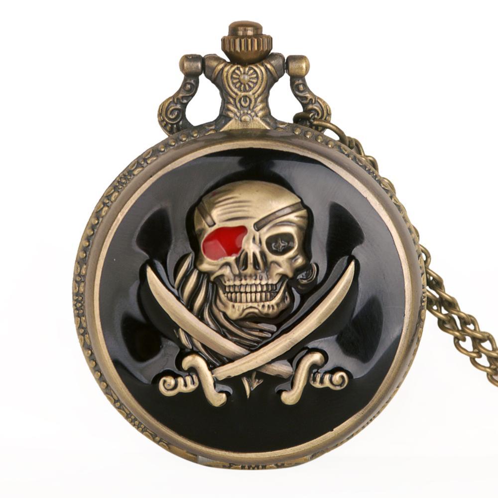 Bronze Skull Pocket Watch Necklace Chain vintage Quartz pocket Fob watches Men Relogio De Bolso TD2004