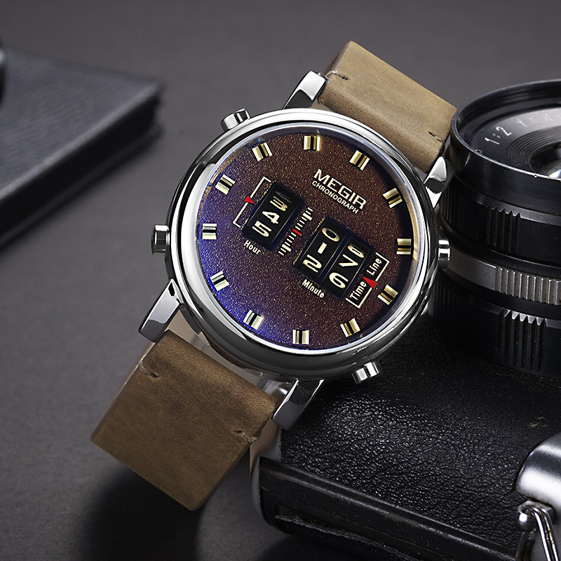 MEGIR 2019 New Fashion Mens Watches With Leather Strap Top Brand Luxury Sports Quartz Watch Men Relogio Masculino WristWatches