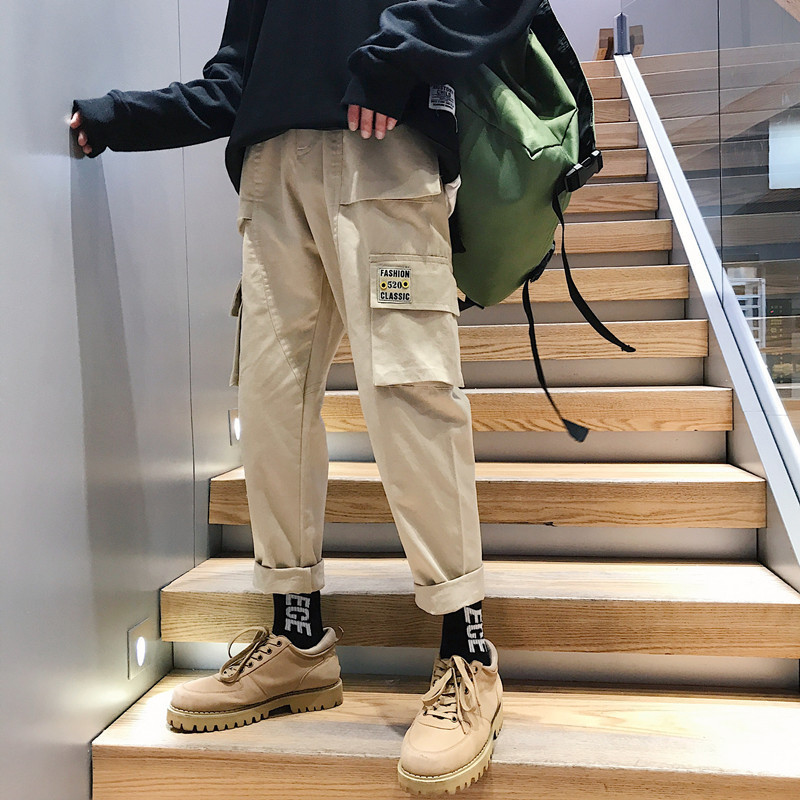 Privathinker Men's Retro Overalls 2019 Men's Hiphop Khaki Pocket Jogging Pants Male Korean Fashion Trend Loose Straight Sweatpan