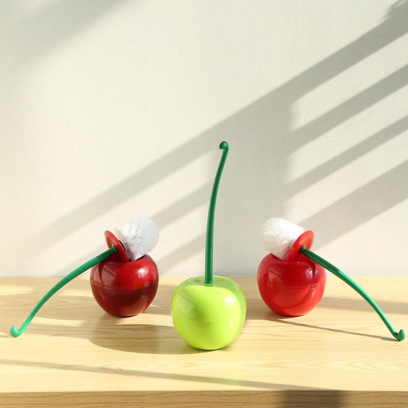 1PC Cute Cherry Shaped Toilet Brush Holder Set Bathroom Cleaning Kit Cleaner Creative Household Toilet Cleaning Brushes