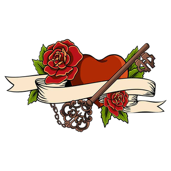 13cm x 7.5cm for Heart Entwined In Climbing Rose Tattoo Heart Vector DIY Motorcycle Stickers Waterproof Car Decal image