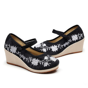 Image 5 - Veowalk Vegan Women Embroidered Canvas Wedge Platform Shoes Comfort Cotton Embroidery Vintage Ladies Casual Wedged High Heels