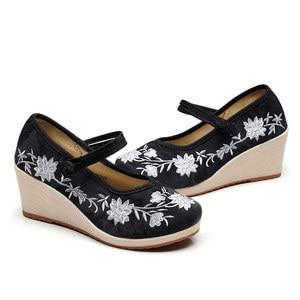 Image 5 - Veowalk טבעוני נשים רקום בד טריז פלטפורמת נעלי נוחות כותנה רקמת בציר גבירותיי מקרית תקוע עקבים גבוהים