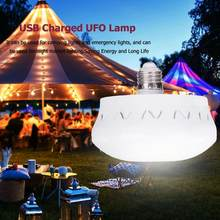 UFO E27 LED Bulb Lamp 16W Energy Saving Super Bright Home Bar Hall Ceiling Light With USB Connector Charging Touch Dimming(China)