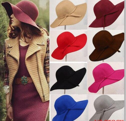 Винтажная Женская шерстяная фетровая шляпа с широкими полями, Женская фетровая шляпа-«Колокол»