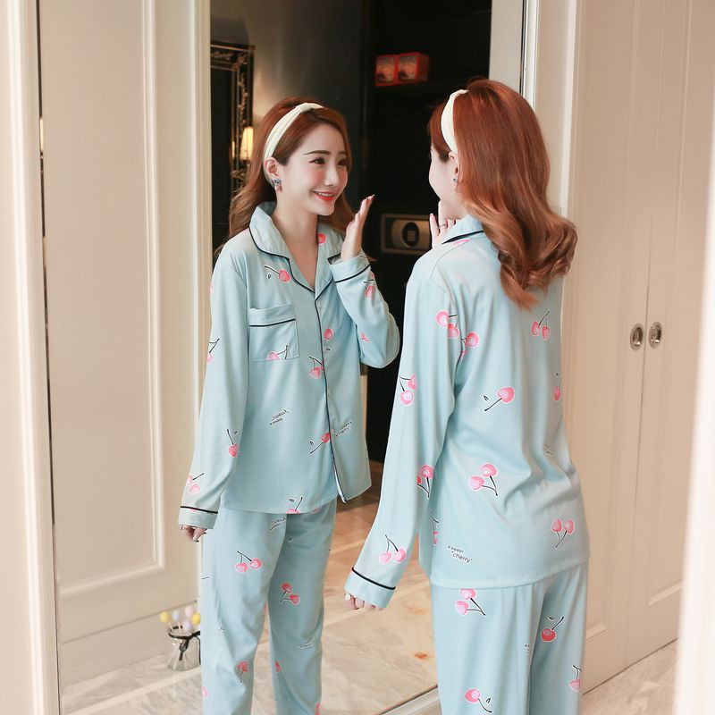 Pajamas Women's Pure Cotton Spring And Autumn Long-sleeved Cardigan Summer Thin Casual Postpartum Time Of Childbirth-Go Out Home