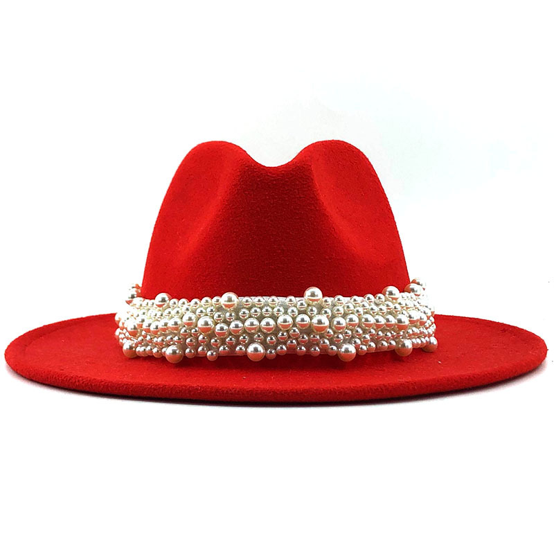 Wool Jazz Fedora Hats Casual Women Leather Pearl Ribbon Felt Hat White Pink Yellow Panama Trilby Formal Party Cap 58-61CM
