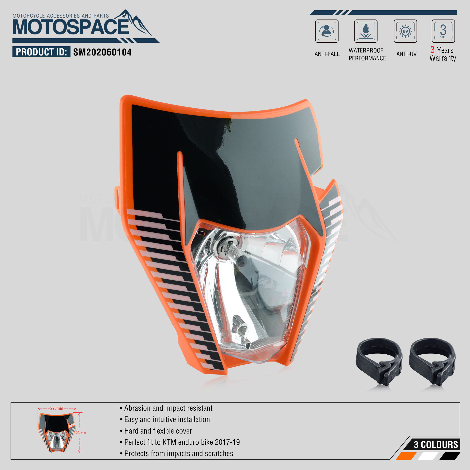 Spacemotors Headlight Headlamp With Sticker For KTM SX F EXC XCF SMR 2017 2018 2019 Motorcycle Dirt Bike MX Enduro Supermoto