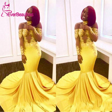 Mermaid Prom Dresses 2020 Yellow African Long Lace Off Shoulder Sleeves See Through Sweep Train Formal Evening Party dress