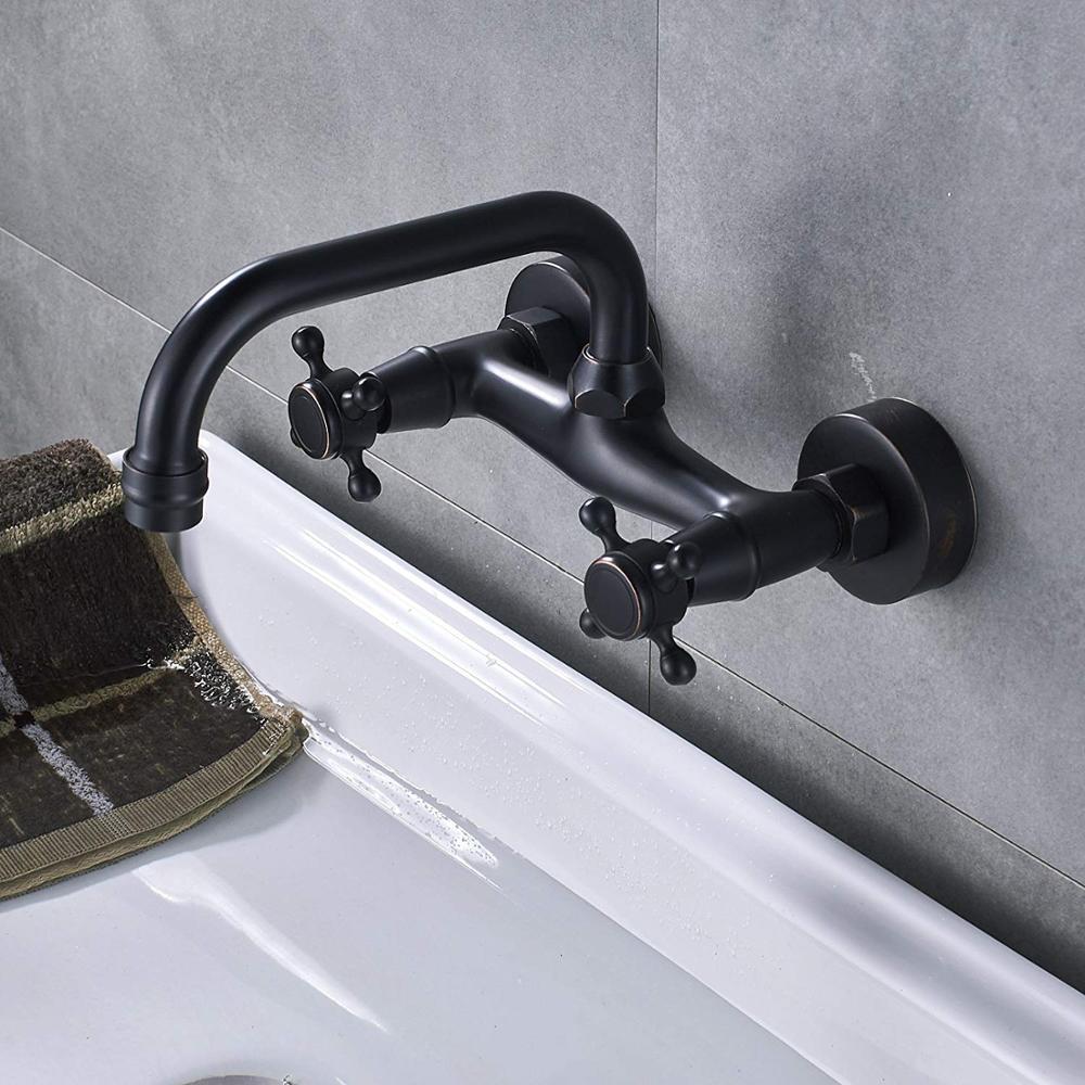 Quyanre Blackend настенный смеситель для раковины с двумя ручками Смеситель горячей и холодной воды кран для кухни вращение на 360 кухонный смесител...