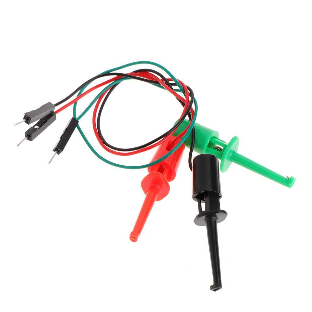 Hook Type Test Clamp Instrument Test Hook With Male DuPont Line Transistor Tester 3 Test Hooks