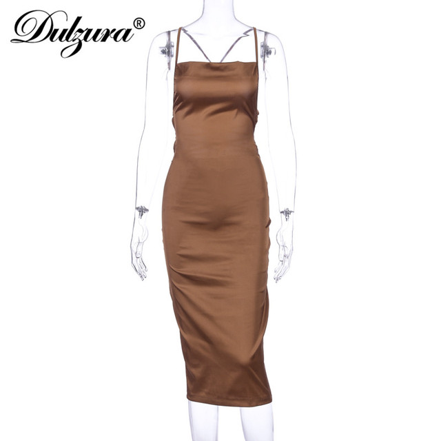Dulzura neon satin lace up women long midi dress bodycon backless elegant party sexy club clothes 2021 summer dinner outfit 6